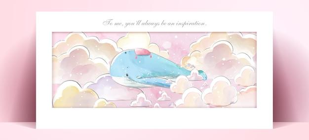Panoramiczny styl życia akwarelowy życie codzienne wieloryb w ludzkich gestach romantyczna ilustracja w pastelowej tonacji.