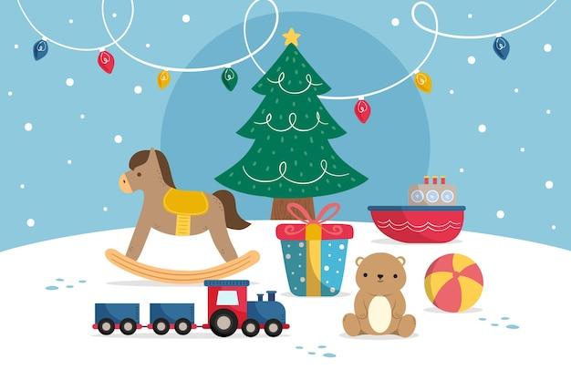 Panoramiczny widok kamery ręcznie rysowane świąteczne zabawki