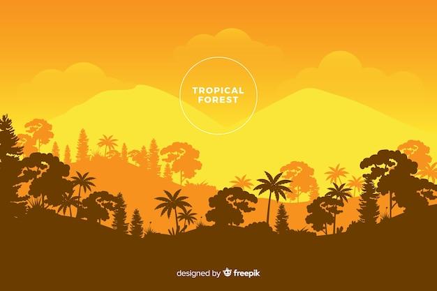 Panoramiczny widok pięknego lasu tropikalnego w pomarańczowych odcieniach
