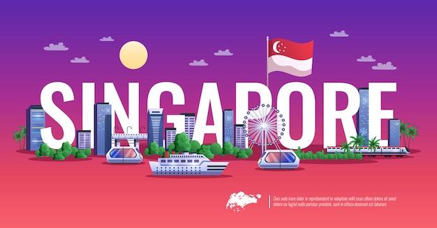 Panoramiczny widok singapuru