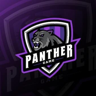 Panther maskotka gier logo esport ilustracja