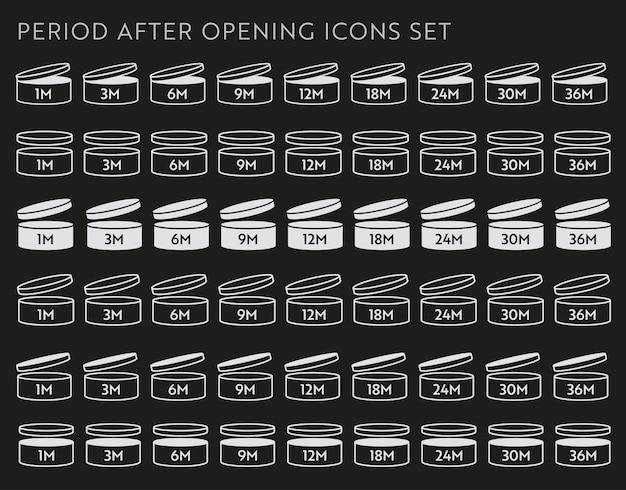 Pao wektor ikona na czarnym zestawie. okres po otwarciu symboli. puszka z otwartym wieczkiem z terminem ważności w miesiącach.