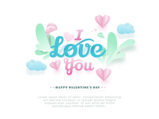 Papercut i love you text with hearts and butterflies decorated on white