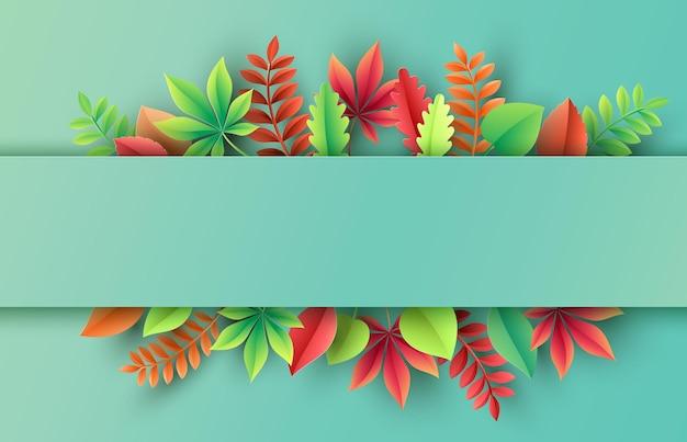 Papercut jesień, liście na tle. ilustracja wektorowa.