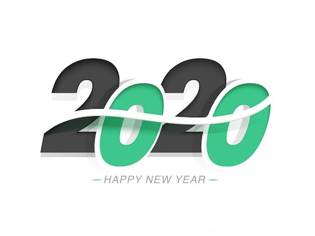 Papercut tekst 2020 na białym na obchody szczęśliwego nowego roku
