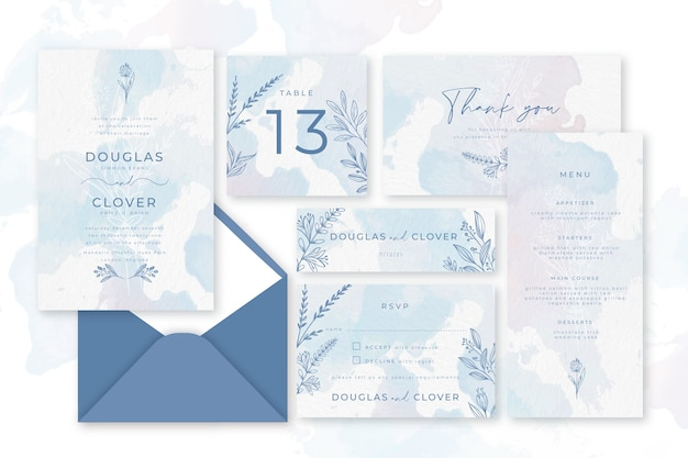 Papeteria ślubna pastelowy niebieski proszek