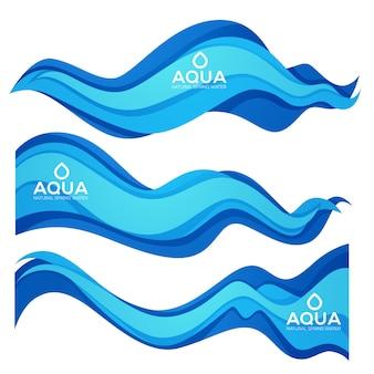 Papier cięty wiosna aqua przepływ wektor element projektu dla nowoczesnych etykiet wody słodkiej, herby i ulotki