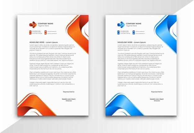 Papier firmowy z pomarańczowym i niebieskim trójkątnym kształtem w nowoczesnym stylu