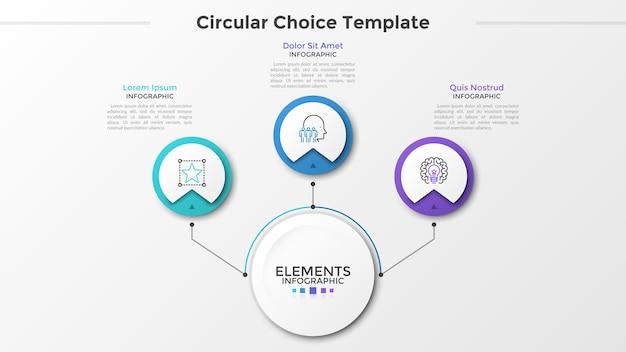 Papier główny biały okrąg połączony z 3 okrągłymi elementami z symbolami liniowymi wewnątrz i polami tekstowymi liniami. trzy okrągłe opcje do wyboru. szablon projektu nowoczesny plansza. ilustracja wektorowa.