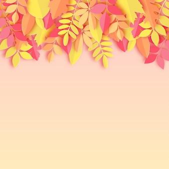 Papier jesienny dąb klonowy i inne liście pastelowe kolorowe tło ilustracji wektorowych
