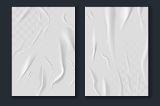 Papier klejony. realistyczne mokre, pomarszczone i pogniecione arkusze białego papieru, zmięta makieta tekstury plakatu, szablony ulicznych ulotek reklamowych