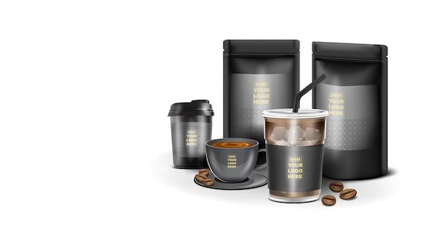 Papier pakowy torba z zamkiem błyskawicznym na żywność worek stojący z filiżanką kawy szablon makiety na logo