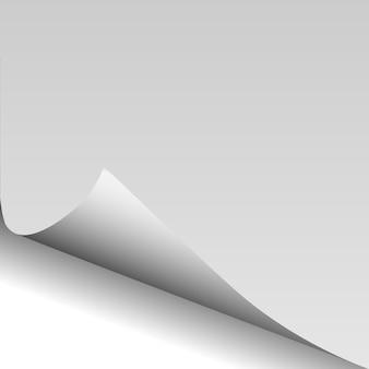 Papier pustej strony zawinięty róg z cieniem.