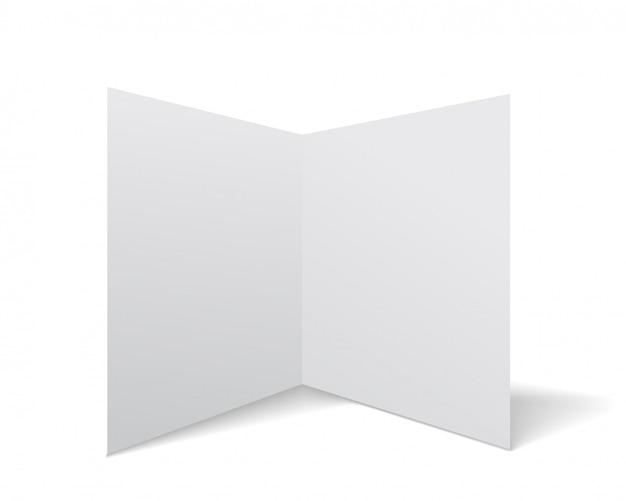 Papier szkolny wektor uwaga książki z realistycznym cieniem. biała pusta strona odizolowywająca na tle. makieta szablonu.