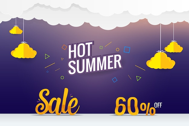 Papier sztuka gorący lato sprzedaż wektor szablon projektu