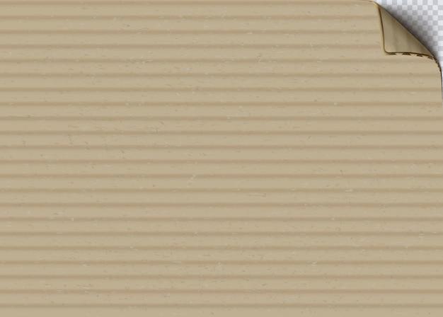 Papier tekturowy z realistycznym tłem wektorowym zwinięty róg. pusta powierzchnia brązowego kartonu falistego. wyczyść ilustrację arkusza papieru rzemieślniczego. beżowe tło tekstury tektury