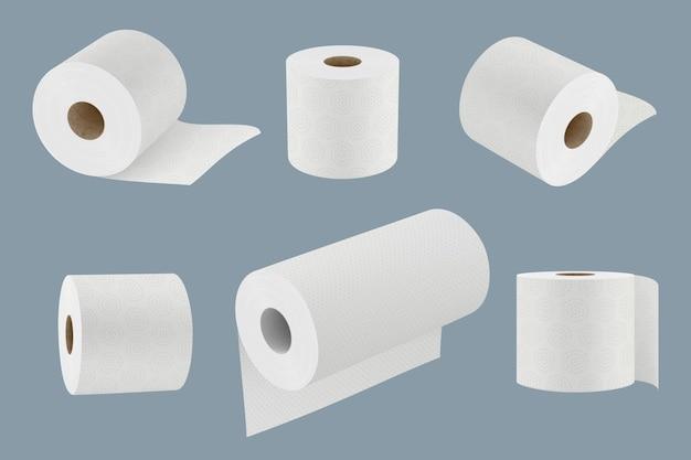 Papier toaletowy. biały miękki ręcznik kuchenny w rolce do higieny 3d realistyczne szablony wektor zbiory. miękka ściereczka toaletowa, realistyczna rolka do ilustracji sanitarnych