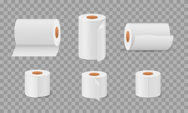Papier toaletowy w rolce do łazienki i toalety, zestaw białych miękkich ręczników kuchennych. higieniczny artykuł gospodarstwa domowego do toalet. zestaw bibułek z kreskówek, pudełko na rolki, do toalety, kuchni. ilustracja.