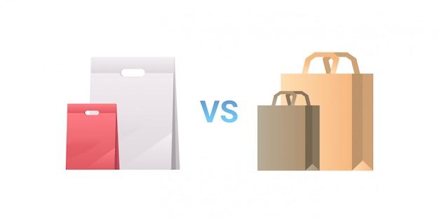 Papier vs plastikowe torby różne paczki paczki uchwyt ikona zero koncepcja odpadów płaskie białe tło poziome