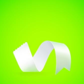 Papier wstążka na zielonym sztandarem.