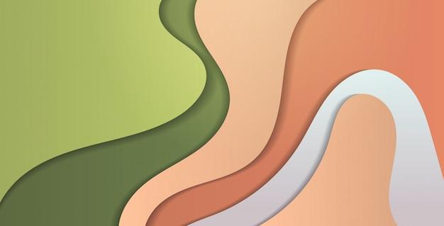 Papier wyciąć kompozycja abstrakcyjne tło z kolorowe fale rzeźba koncepcja sztuki falisty układ prezentacji ulotki lub plakatu poziomej