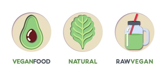 Papier wyciąć szablon logo zestaw z eco green food. symbole zdrowego odżywiania origami dla marki, broszury, tożsamości. ilustracja wektorowa
