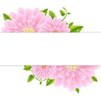 Papier z różową gerber i ilustracją liści