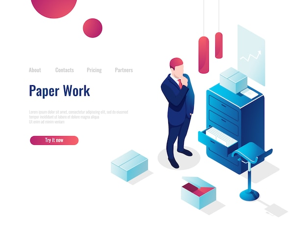 Papierkowa ikona izometryczna, myśli człowieka analizuje dokumenty, planowanie i analizy biznesowe
