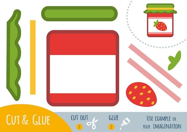Papierowa gra edukacyjna dla dzieci, jam-jar. użyj nożyczek i kleju, aby stworzyć obraz.