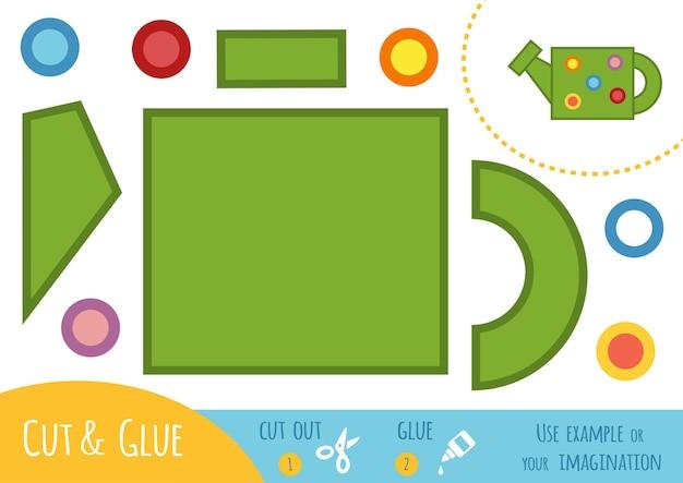 Papierowa gra edukacyjna dla dzieci, konewka. użyj nożyczek i kleju, aby stworzyć obraz.