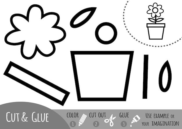 Papierowa gra edukacyjna dla dzieci, kwiat. użyj nożyczek i kleju, aby stworzyć obraz.