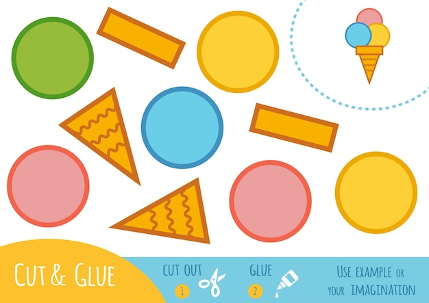 Papierowa gra edukacyjna dla dzieci, lody. użyj nożyczek i kleju, aby stworzyć obraz.