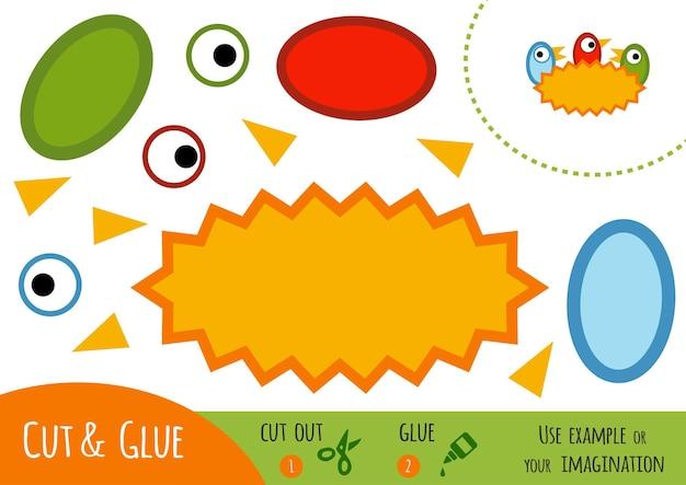Papierowa gra edukacyjna dla dzieci, nest. użyj nożyczek i kleju, aby stworzyć obraz.
