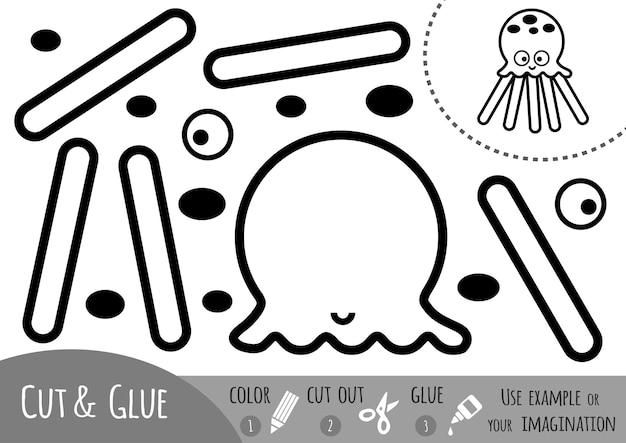 Papierowa gra edukacyjna dla dzieci, octopus. użyj nożyczek i kleju, aby stworzyć obraz.