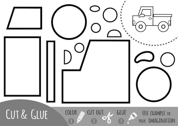 Papierowa gra edukacyjna dla dzieci, pickup. użyj nożyczek i kleju, aby stworzyć obraz.