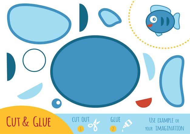 Papierowa gra edukacyjna dla dzieci, ryby. użyj nożyczek i kleju, aby stworzyć obraz