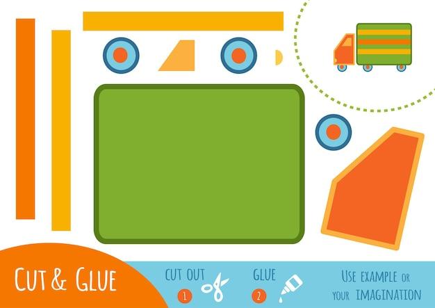 Papierowa gra edukacyjna dla dzieci, samochód ciężarowy. użyj nożyczek i kleju, aby stworzyć obraz.