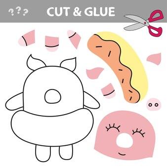 Papierowa gra edukacyjna dla dzieci, świnia. użyj nożyczek i kleju, aby stworzyć obraz.