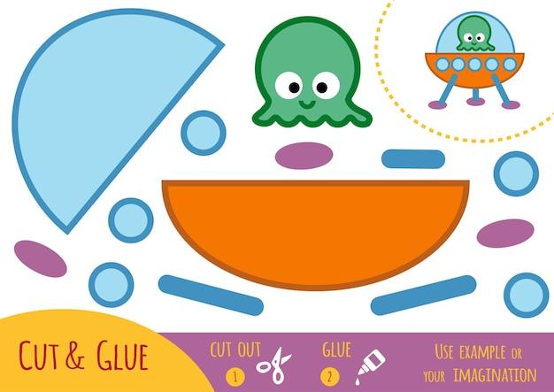 Papierowa gra edukacyjna dla dzieci, ufo. użyj nożyczek i kleju, aby stworzyć obraz.