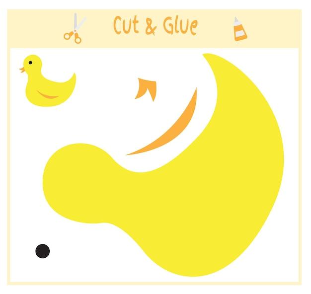 Papierowa gra edukacyjna dla rozwoju dzieci w wieku przedszkolnym. wytnij części obrazu i przyklej na papierze. ilustracja wektorowa. użyj nożyczek i kleju do stworzenia aplikacji. kaczka.