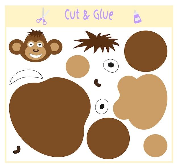 Papierowa gra edukacyjna dla rozwoju dzieci w wieku przedszkolnym. wytnij części obrazu i przyklej na papierze. ilustracja wektorowa. użyj nożyczek i kleju do stworzenia aplikacji. małpa.