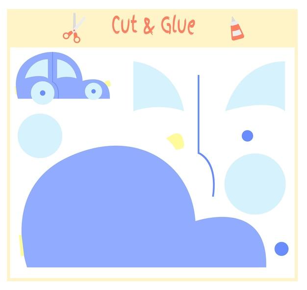 Papierowa gra edukacyjna dla rozwoju dzieci w wieku przedszkolnym. wytnij części obrazu i przyklej na papierze. ilustracja wektorowa. użyj nożyczek i kleju do stworzenia aplikacji. samochód zabawka.