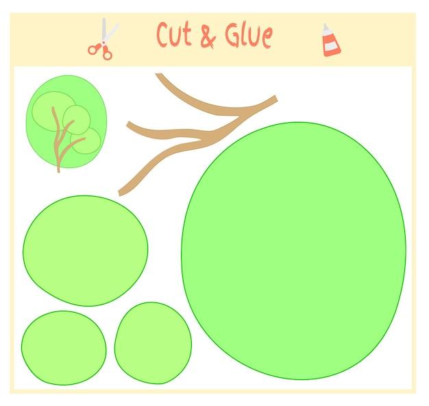 Papierowa gra edukacyjna dla rozwoju dzieci w wieku przedszkolnym. wytnij części obrazu i przyklej na papierze. ilustracja wektorowa. użyj nożyczek i kleju do stworzenia aplikacji. zielone drzewo.