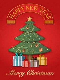 Papierowa grafika reliefowa przedstawiająca boże narodzenie i prezenty. wesołych świąt i szczęśliwego nowego roku, ilustracja.
