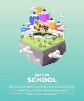 Papierowa grafika szkolnego autobusu jeżdżącego po wiejskiej drodze, koncepcja powrotu do szkoły, grafika wektorowa i ilustracje.