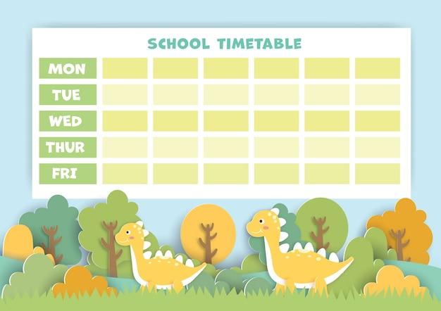 Papierowa grafika z powrotem do planu lekcji z uroczym dinozaurem