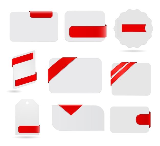 Papierowa karta z czerwoną wstążką zestaw etykiet tag
