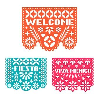 Papierowa kartka z pozdrowieniami z wyciąć kwiaty, kształty i tekst.