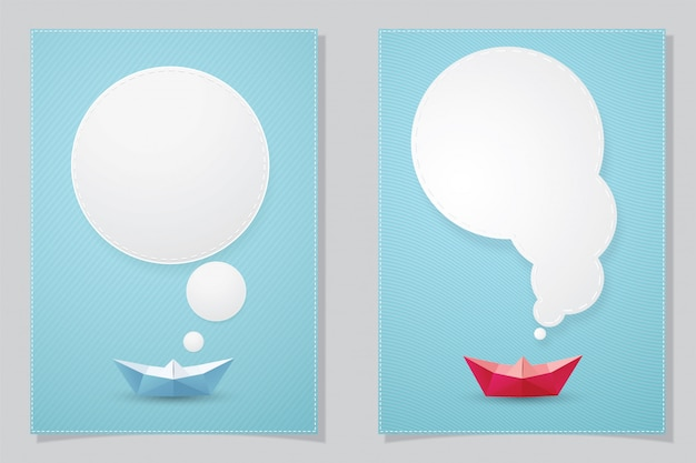 Papierowa łódź i biała mowa gulgoczemy, ilustracja dla karty