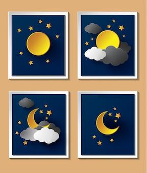 Papierowa pogoda z księżycem o zmroku.